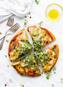 Avocado Tomato Gouda Socca Pizza