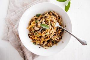 Butternut Squash Noodles With Creamy Garlic Mushrooms & Lentils